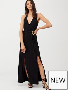 v-by-very-halter-neck-horn-ring-maxi-dress-black