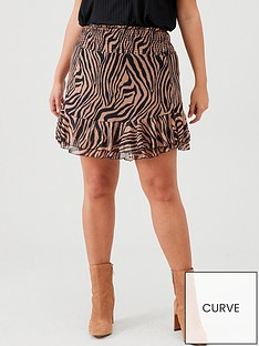 v-by-very-curve-short-mesh-ruffle-skirt-tiger-print
