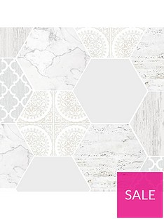 contour-grey-hexagonal-marble-wallpaper