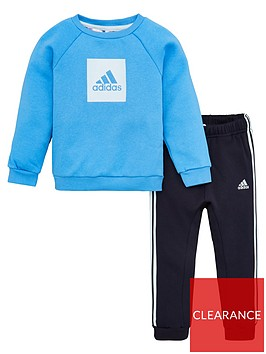 adidas-infant-2-piece-3-stripe-logo-sweatshirt-and-jogger-set-blue