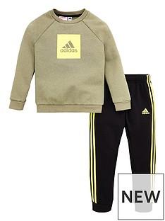 adidas-infant-2-piece-3-stripe-logo-sweatshirt-and-jogger-set-green