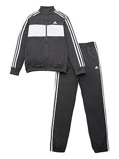 adidas-boys-dmh-3-stripe-full-zip-hoodie-jogger-set-grey