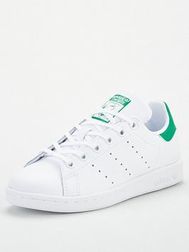 Adidas Originals Stan Smith Junior Trainers - White/Green, White/Green, Size 3