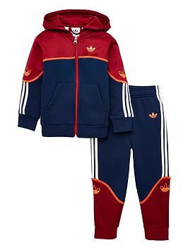 adidas-originals-childrens-outline-full-zip-hoodie-tracksuit-burgundy