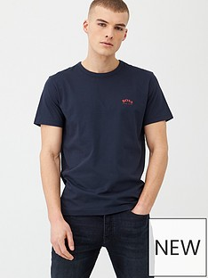 boss-curved-small-logo-crew-t-shirt-navy