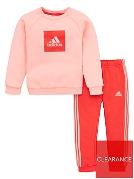 adidas-infant-2-piece-3-stripe-logo-sweatshirt-and-jogger-set-pink