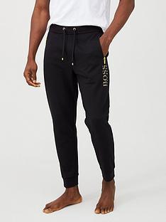 boss-gold-logo-cuffed-lounge-pants-black