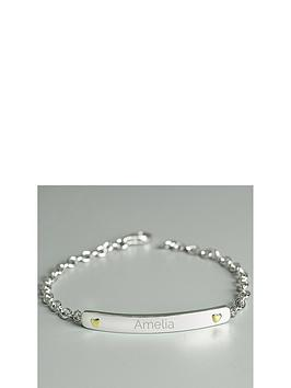the-love-silver-collection-personalised-sterling-silver-bar-bracelet-with-9ct-gold-heart-detail