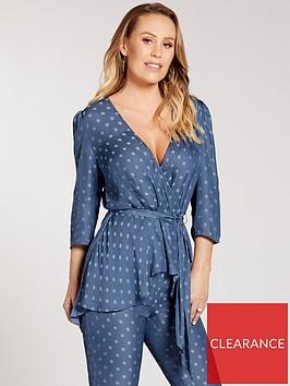 kate-wright-spot-jacquard-wrap-blouse-teal