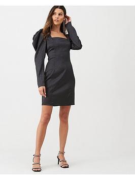 v-by-very-sleeve-detail-jacquard-dress-black