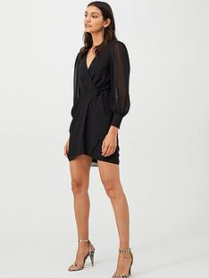 v-by-very-wrap-georgette-dress-black