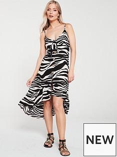 river-island-river-island-zebra-print-button-front-dress-white
