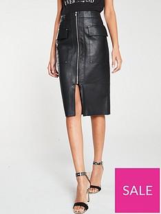 river-island-river-island-pu-zip-through-pencil-skirt-black