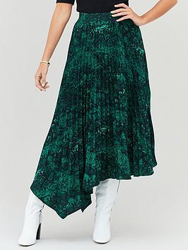 michelle-keegan-pleated-asym-printed-skirt-snake