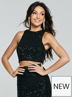 michelle-keegan-sequin-crop-top-co-ord-black