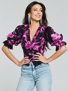 michelle-keegan-printed-blouse-black
