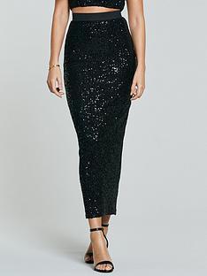 michelle-keegan-sequin-midi-skirt-co-ord-black