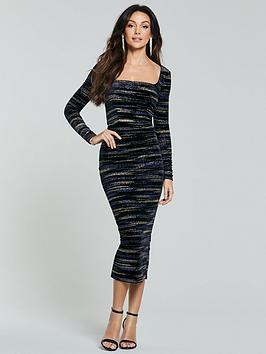 michelle-keegan-square-neck-lurex-pencil-dress-multi