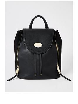 river-island-fold-over-backpack-black