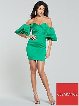 michelle-keegan-puff-sleeve-mini-dress-green