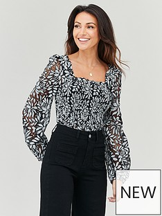 michelle-keegan-shirred-body-lace-blouse