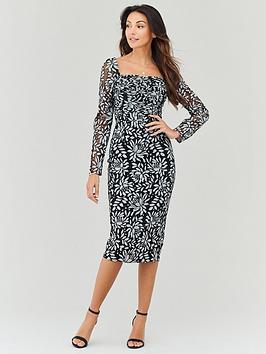 michelle-keegan-shirred-bust-lace-pencil-dress