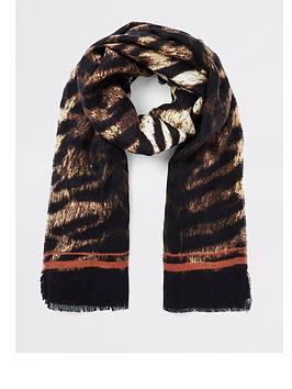 river-island-river-island-tiger-print-light-weight-scarf-brown