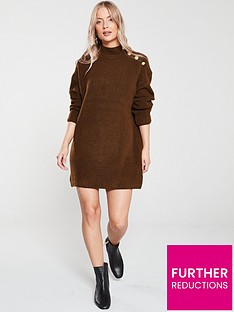 river-island-river-island-button-shoulder-knitted-dress-toffee