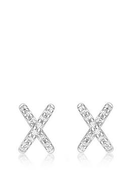love-gold-9ct-white-gold-cubic-zirconia-cross-stud-earrings