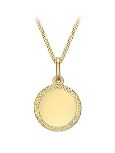 love-gold-9ct-gold-disc-pendant-necklace-with-diamond-cut-edge