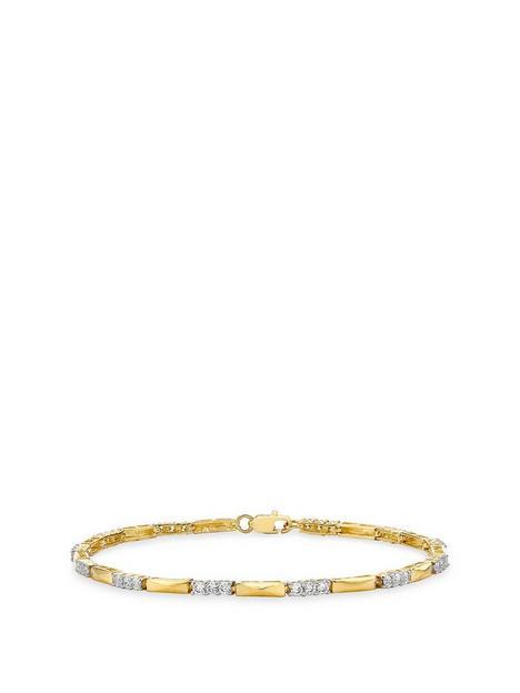 love-gold-9ct-gold-cubic-zirconia-bar-link-bracelet