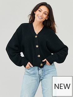 michelle-keegan-ribbed-textured-knitted-cardigan-black