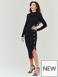 michelle-keegan-high-neck-knitted-bodycon-dress-black