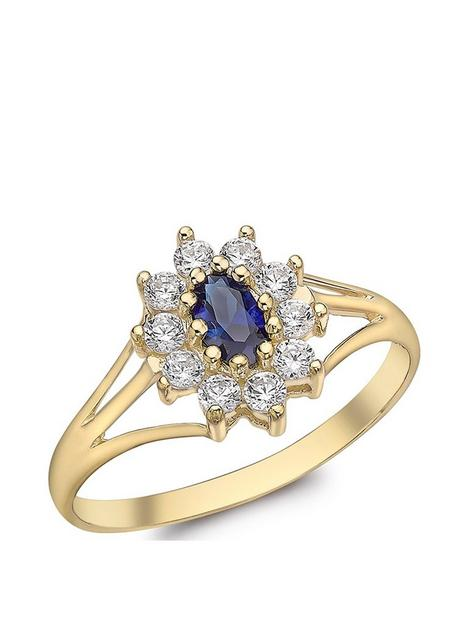 love-gold-9ct-gold-blue-cubic-zirconia-cluster-ring-with-cut-out-shoulder-detail