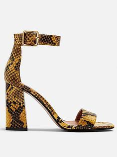 topshop-suki-snake-print-block-heel-sandals-yellow