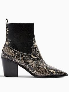 topshop-bliss-snake-print-western-boots-black