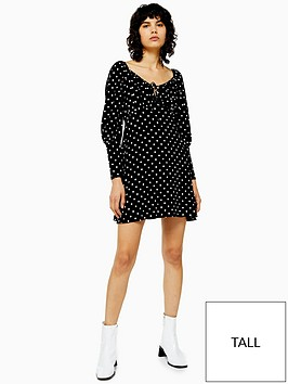 topshop-tall-spot-print-prairie-flippy-dress-monochrome