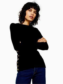topshop-topshop-button-side-detail-knitted-jumper-black