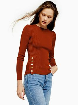 topshop-button-side-detail-knitted-jumper-rust