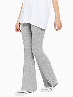 topshop-rib-marl-flare-trousers-grey-marl