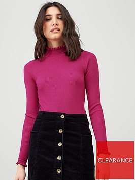 v-by-very-frill-neck-rib-knitted-top-pink