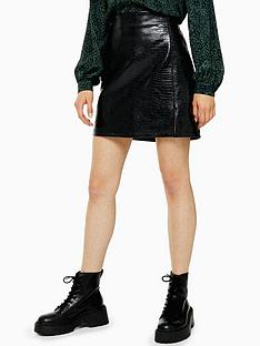 topshop-topshop-faux-croc-pu-mini-skirt-black