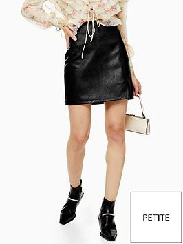 topshop-petite-split-front-pu-mini-skirt-black