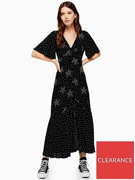 topshop-star-spot-print-angel-sleeve-midi-dress-black