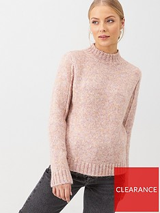 v-by-very-crew-neck-seam-arm-detail-jumper-pink