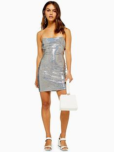 topshop-topshop-petite-holographic-bodycon-dress-silver