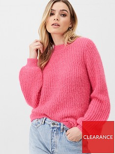 v-by-very-balloon-sleeve-stripe-jumper-pink