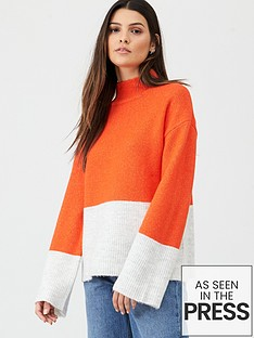 v-by-very-colour-block-roll-neck-jumper-orange