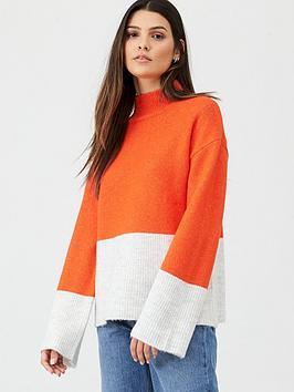 v-by-very-colour-block-roll-neck-jumper-orange