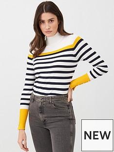 v-by-very-stripe-funnel-neck-jumper-mustard